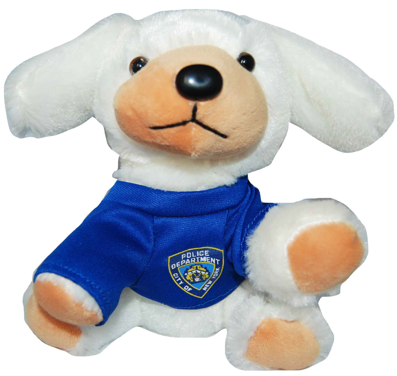 Nypd White Plush Puppy In Blue Logo T Shirt